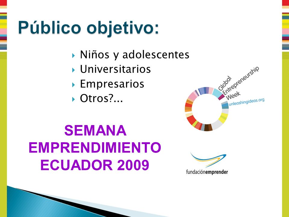 Niños y adolescentes Universitarios Empresarios Otros ... SEMANA EMPRENDIMIENTO ECUADOR 2009