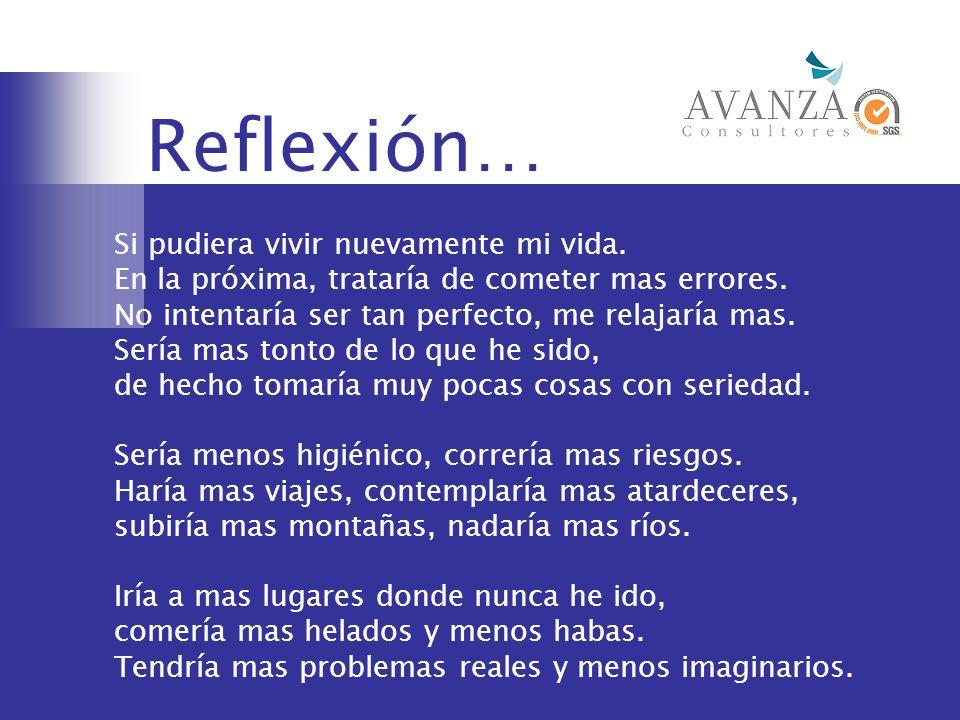 Reflexión… Si pudiera vivir nuevamente mi vida. En la próxima, trataría de cometer mas errores. No intentaría ser tan perfecto, me relajaría mas. Serí