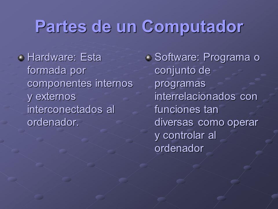 Partes de un Computador Hardware: Esta formada por componentes internos y externos interconectados al ordenador. Software: Programa o conjunto de prog