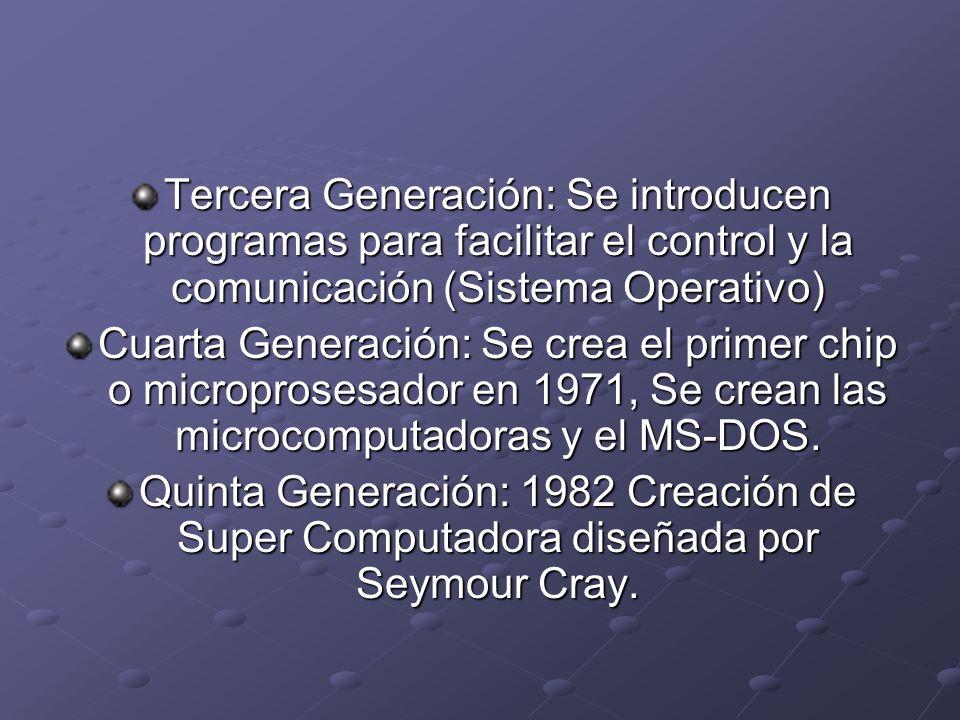 Tercera Generación: Se introducen programas para facilitar el control y la comunicación (Sistema Operativo) Cuarta Generación: Se crea el primer chip