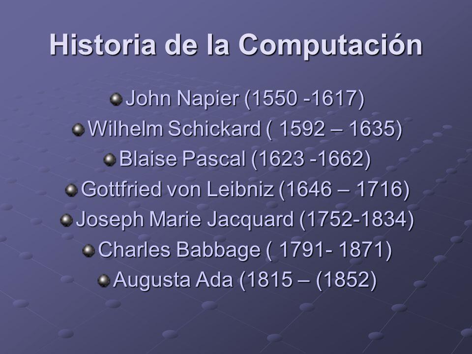 Historia de la Computación John Napier (1550 -1617) Wilhelm Schickard ( 1592 – 1635) Blaise Pascal (1623 -1662) Gottfried von Leibniz (1646 – 1716) Jo