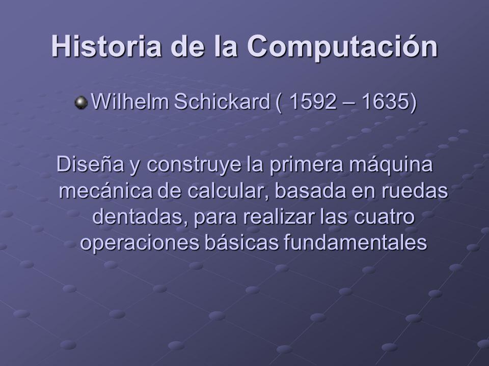 Historia de la Computación Wilhelm Schickard ( 1592 – 1635) Diseña y construye la primera máquina mecánica de calcular, basada en ruedas dentadas, par