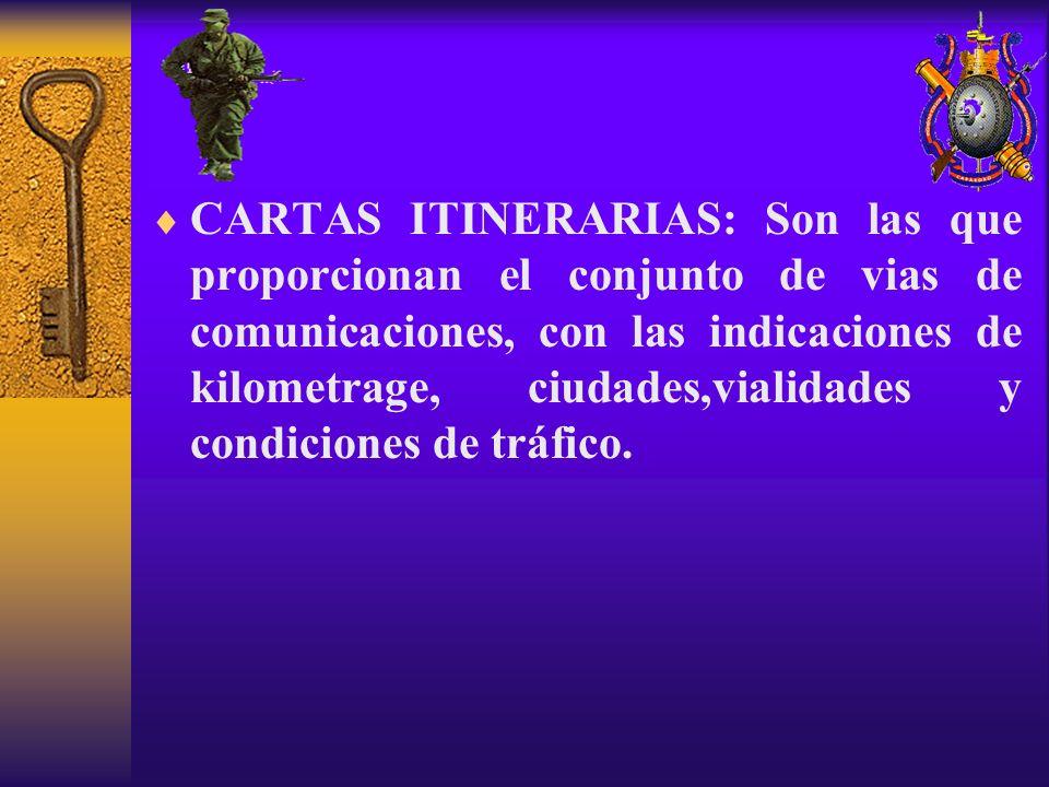 CARTAS ITINERARIAS: Son las que proporcionan el conjunto de vias de comunicaciones, con las indicaciones de kilometrage, ciudades,vialidades y condici