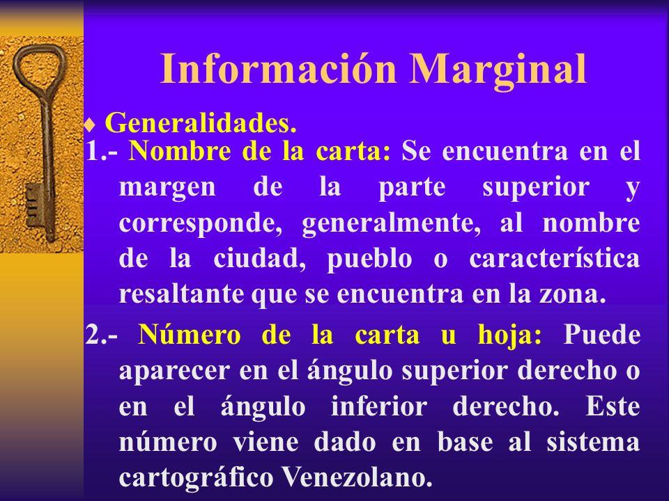 Información Marginal Generalidades. 1.- Nombre de la carta: Se encuentra en el margen de la parte superior y corresponde, generalmente, al nombre de l