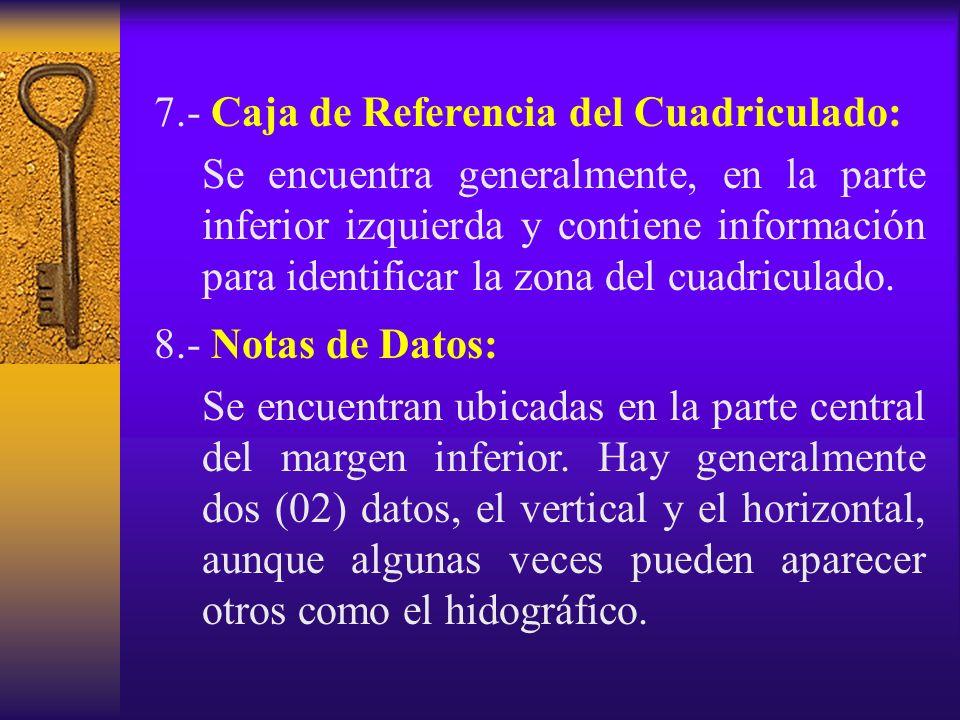 7.- Caja de Referencia del Cuadriculado: Se encuentra generalmente, en la parte inferior izquierda y contiene información para identificar la zona del