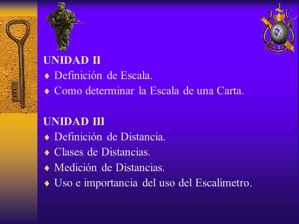 UNIDAD II Definición de Escala. Como determinar la Escala de una Carta. UNIDAD III Definición de Distancia. Clases de Distancias. Medición de Distanci