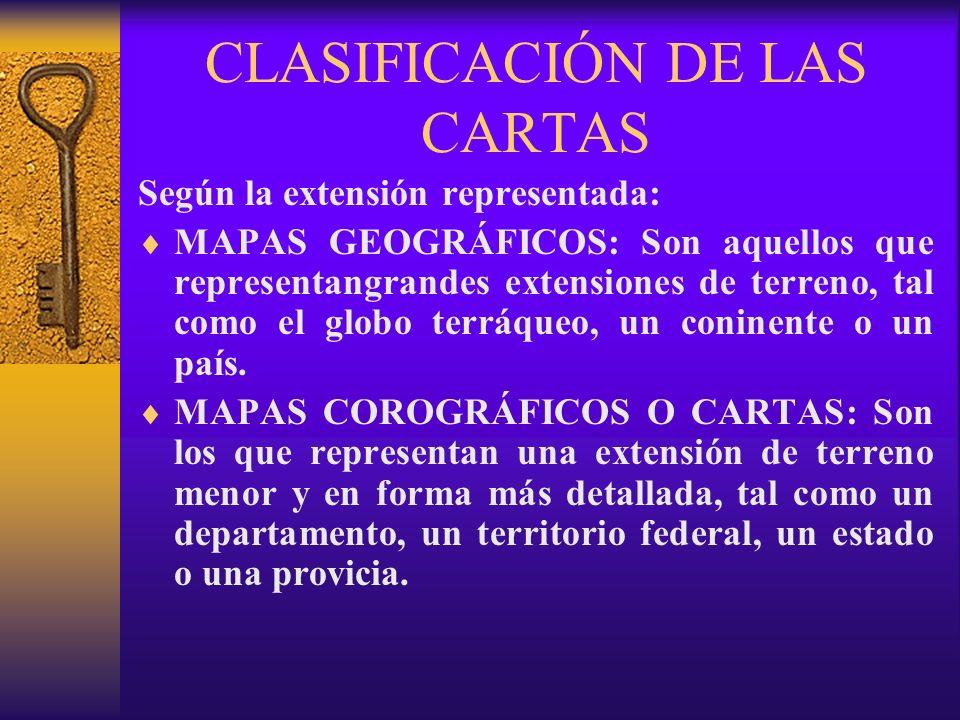CLASIFICACIÓN DE LAS CARTAS Según la extensión representada: MAPAS GEOGRÁFICOS: Son aquellos que representangrandes extensiones de terreno, tal como e