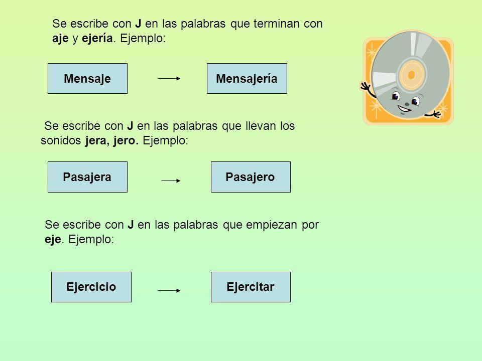 USO DE LA J 1- Se escribe con j los verbos cuyo infinitivo terminan en decir, ducir, traer Ejemplo: Infinitivo Producir Conjugación en Pretérito De la