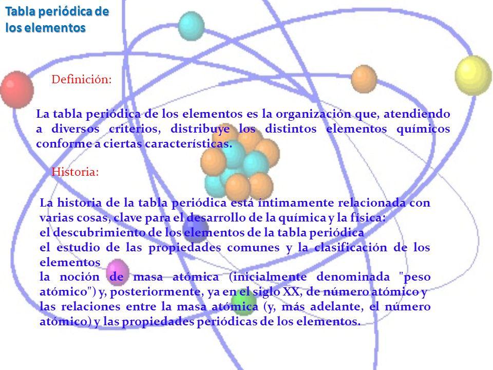 La tabla periódica de los elementos es la organización que, atendiendo a diversos criterios, distribuye los distintos elementos químicos conforme a ci