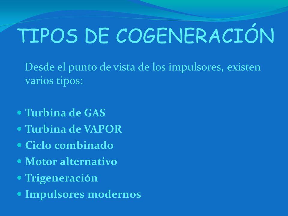 TIPOS DE COGENERACIÓN Desde el punto de vista de los impulsores, existen varios tipos: Turbina de GAS Turbina de VAPOR Ciclo combinado Motor alternati