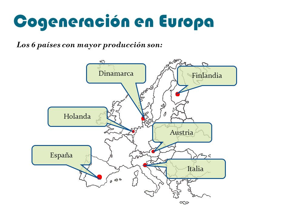Finlandia Dinamarca Holanda Austria Italia España Los 6 países con mayor producción son: