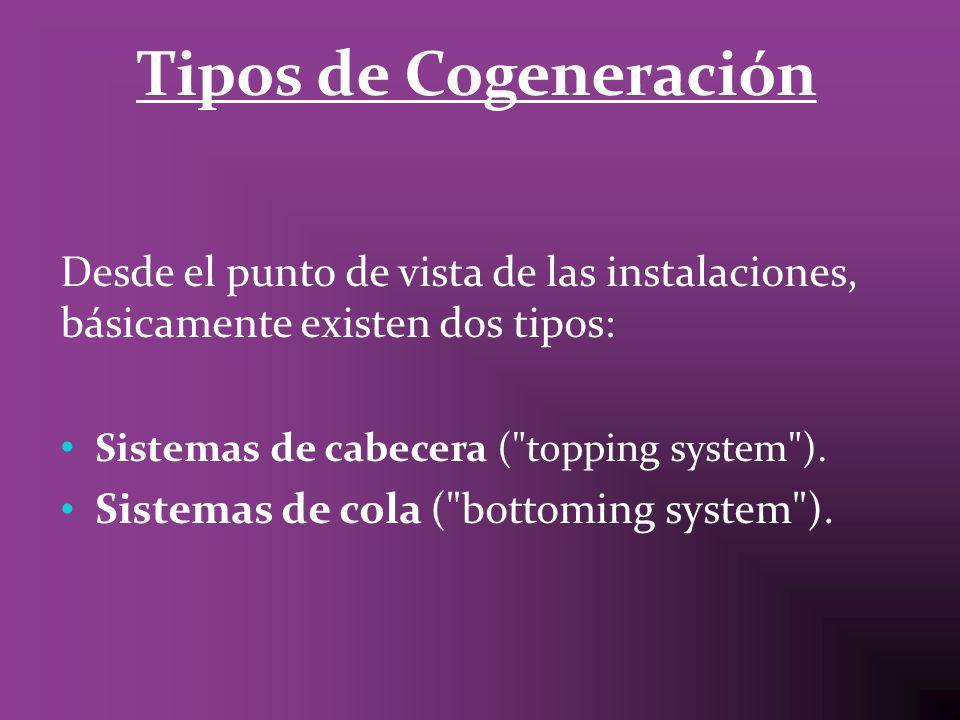 Tipos de Cogeneración Desde el punto de vista de las instalaciones, básicamente existen dos tipos: Sistemas de cabecera (