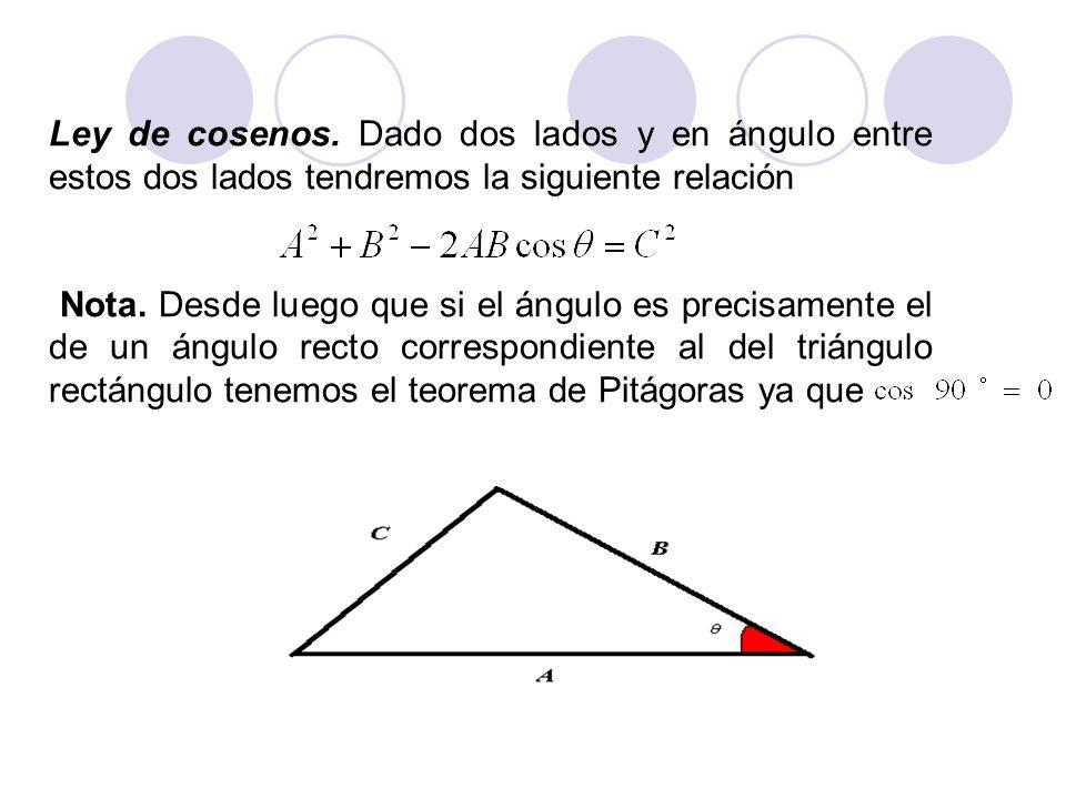 Ley de cosenos. Dado dos lados y en ángulo entre estos dos lados tendremos la siguiente relación Nota. Desde luego que si el ángulo es precisamente el