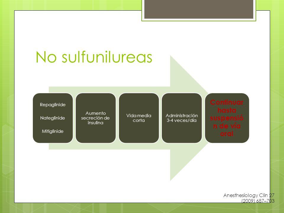 No sulfunilureas Repaglinide Nateglinide Mitiglinide Aumento secreción de insulina Vida media corta Administración 3-4 veces/día Continuar hasta suspensió n de vía oral Anesthesiology Clin 27 (2009) 687–703
