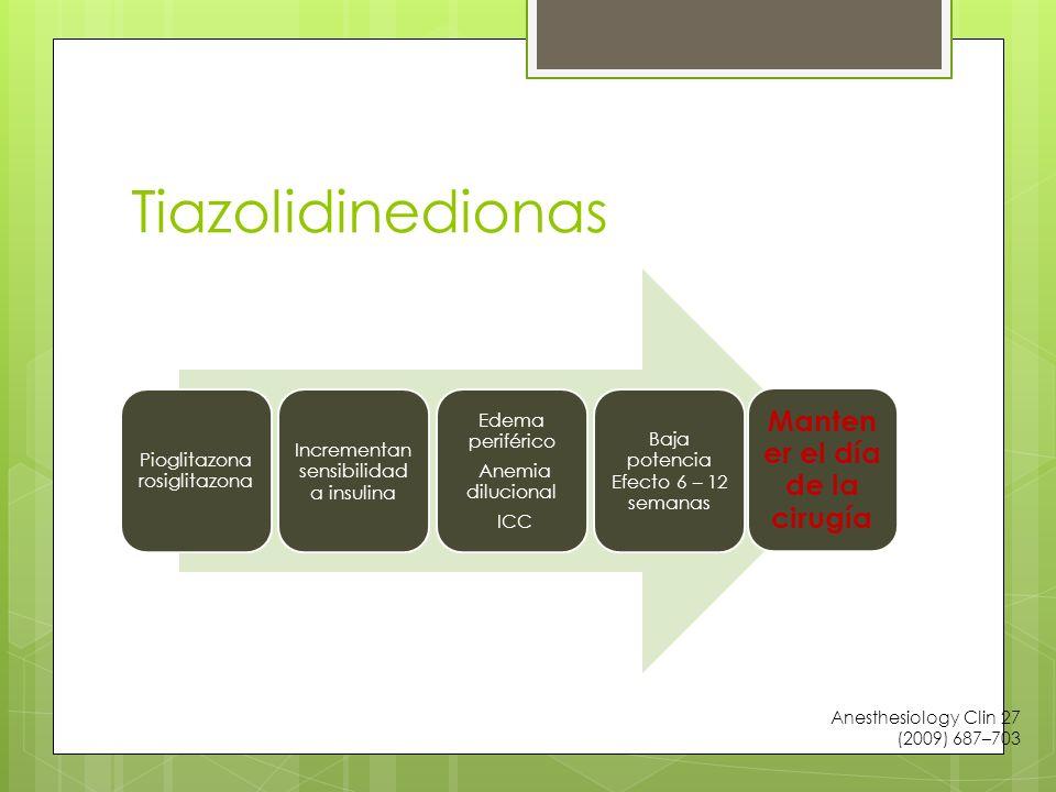 Tiazolidinedionas Pioglitazona rosiglitazona Incrementan sensibilidad a insulina Edema periférico Anemia dilucional ICC Baja potencia Efecto 6 – 12 semanas Manten er el día de la cirugía Anesthesiology Clin 27 (2009) 687–703