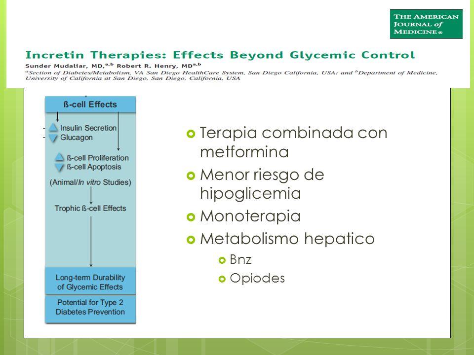 Terapia combinada con metformina Menor riesgo de hipoglicemia Monoterapia Metabolismo hepatico Bnz Opiodes