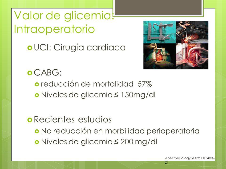 Valor de glicemia: Intraoperatorio UCI: Cirugía cardiaca CABG: reducción de mortalidad 57% Niveles de glicemia 150mg/dl Recientes estudios No reducción en morbilidad perioperatoria Niveles de glicemia 200 mg/dl Anesthesiology 2009; 110:408– 21