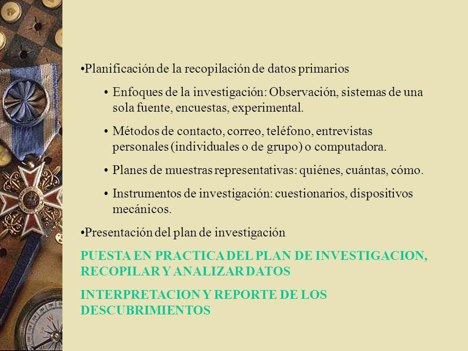 Planificación de la recopilación de datos primarios Enfoques de la investigación: Observación, sistemas de una sola fuente, encuestas, experimental. M