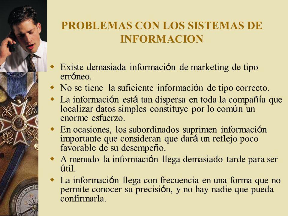 PROBLEMAS CON LOS SISTEMAS DE INFORMACION Existe demasiada informaci ó n de marketing de tipo err ó neo. No se tiene la suficiente informaci ó n de ti