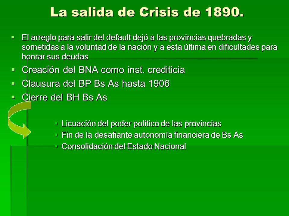 La salida de Crisis de 1890. El arreglo para salir del default dejó a las provincias quebradas y sometidas a la voluntad de la nación y a esta última