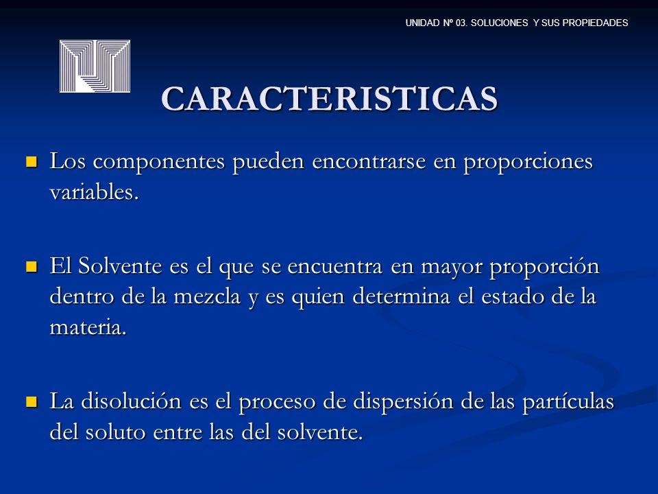 CARACTERISTICAS Los componentes pueden encontrarse en proporciones variables.
