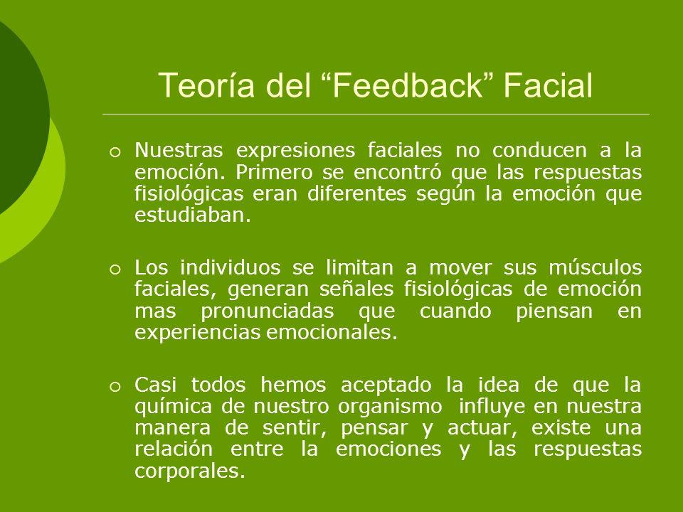 Teoría del Feedback Facial Nuestras expresiones faciales no conducen a la emoción. Primero se encontró que las respuestas fisiológicas eran diferentes