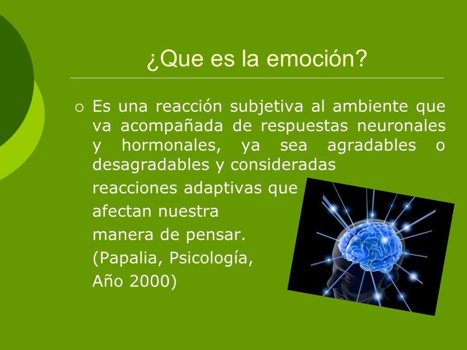 ¿Que es la emoción? Es una reacción subjetiva al ambiente que va acompañada de respuestas neuronales y hormonales, ya sea agradables o desagradables y