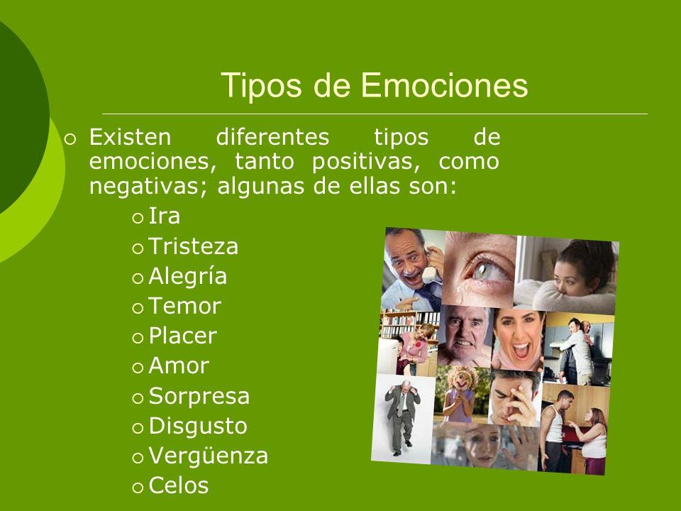 Tipos de Emociones Existen diferentes tipos de emociones, tanto positivas, como negativas; algunas de ellas son: Ira Tristeza Alegría Temor Placer Amo