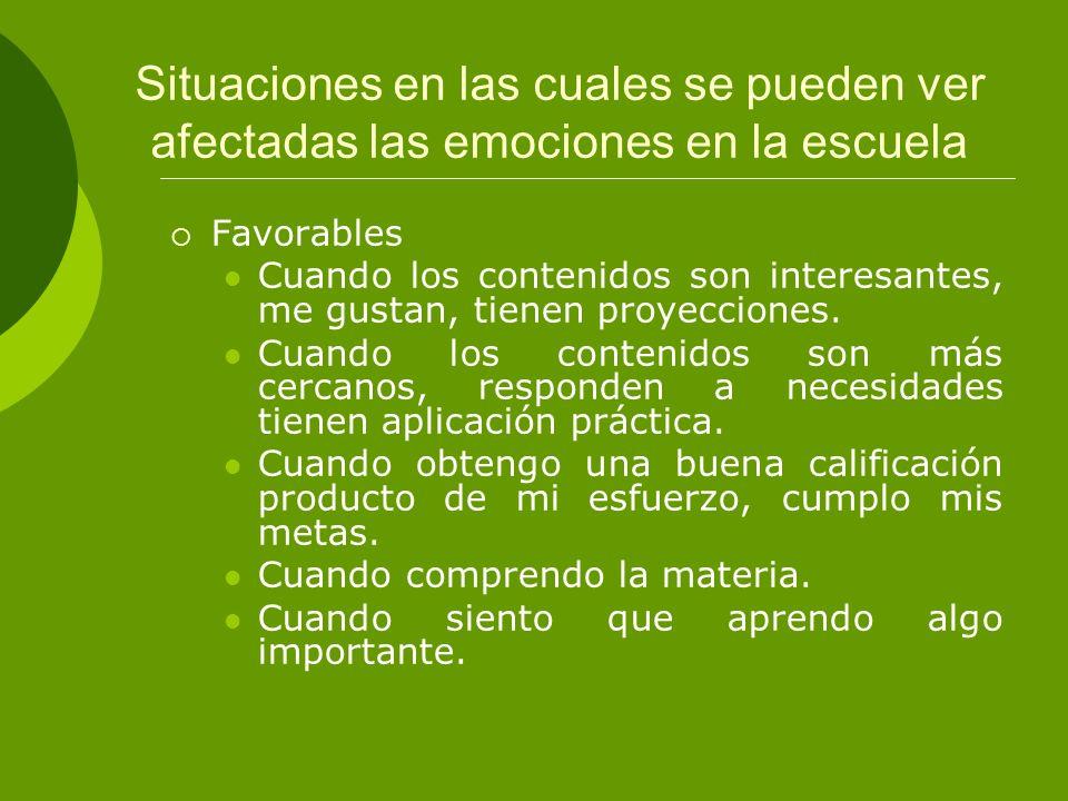 Situaciones en las cuales se pueden ver afectadas las emociones en la escuela Desfavorables Cuando no entiendo la materia.