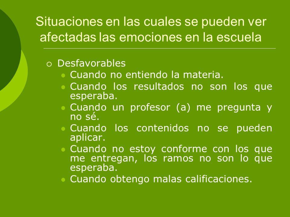 Situaciones en las cuales se pueden ver afectadas las emociones en la escuela Desfavorables Cuando no entiendo la materia. Cuando los resultados no so