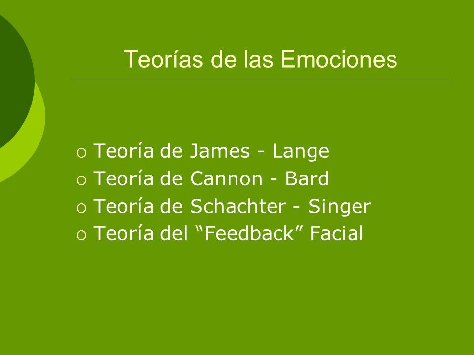 Teorías de las Emociones Teoría de James - Lange Teoría de Cannon - Bard Teoría de Schachter - Singer Teoría del Feedback Facial