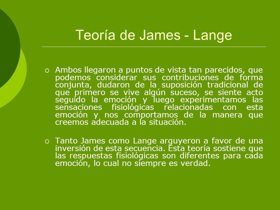 Teoría de James - Lange Ambos llegaron a puntos de vista tan parecidos, que podemos considerar sus contribuciones de forma conjunta, dudaron de la sup