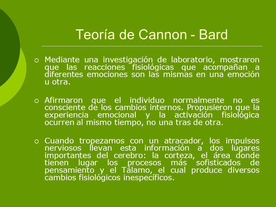 Teoría de Cannon - Bard Mediante una investigación de laboratorio, mostraron que las reacciones fisiológicas que acompañan a diferentes emociones son