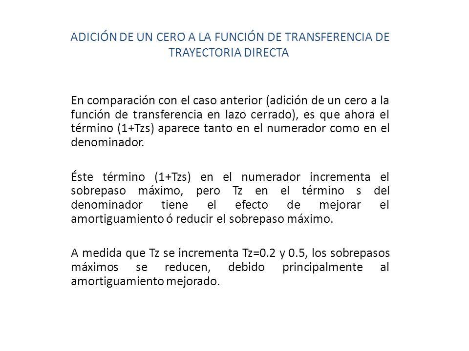 ADICIÓN DE UN CERO A LA FUNCIÓN DE TRANSFERENCIA DE TRAYECTORIA DIRECTA En comparación con el caso anterior (adición de un cero a la función de transf