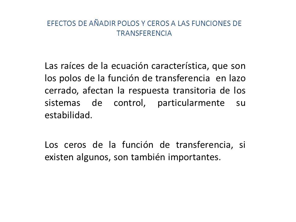 EFECTOS DE AÑADIR POLOS Y CEROS A LAS FUNCIONES DE TRANSFERENCIA Las raíces de la ecuación característica, que son los polos de la función de transfer