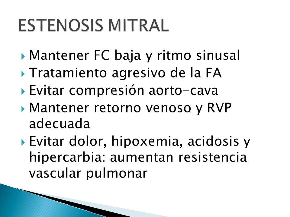 Mantener FC baja y ritmo sinusal Tratamiento agresivo de la FA Evitar compresión aorto-cava Mantener retorno venoso y RVP adecuada Evitar dolor, hipoxemia, acidosis y hipercarbia: aumentan resistencia vascular pulmonar