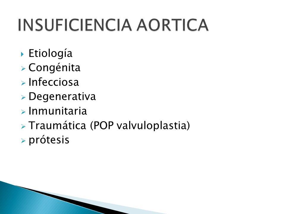 Etiología Congénita Infecciosa Degenerativa Inmunitaria Traumática (POP valvuloplastia) prótesis