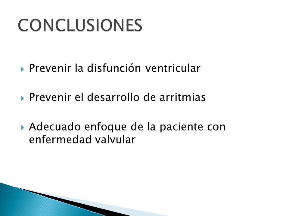 Prevenir la disfunción ventricular Prevenir el desarrollo de arritmias Adecuado enfoque de la paciente con enfermedad valvular