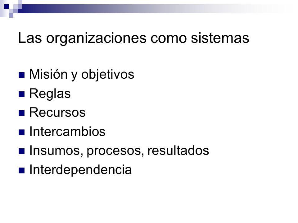 Las organizaciones como sistemas Misión y objetivos Reglas Recursos Intercambios Insumos, procesos, resultados Interdependencia