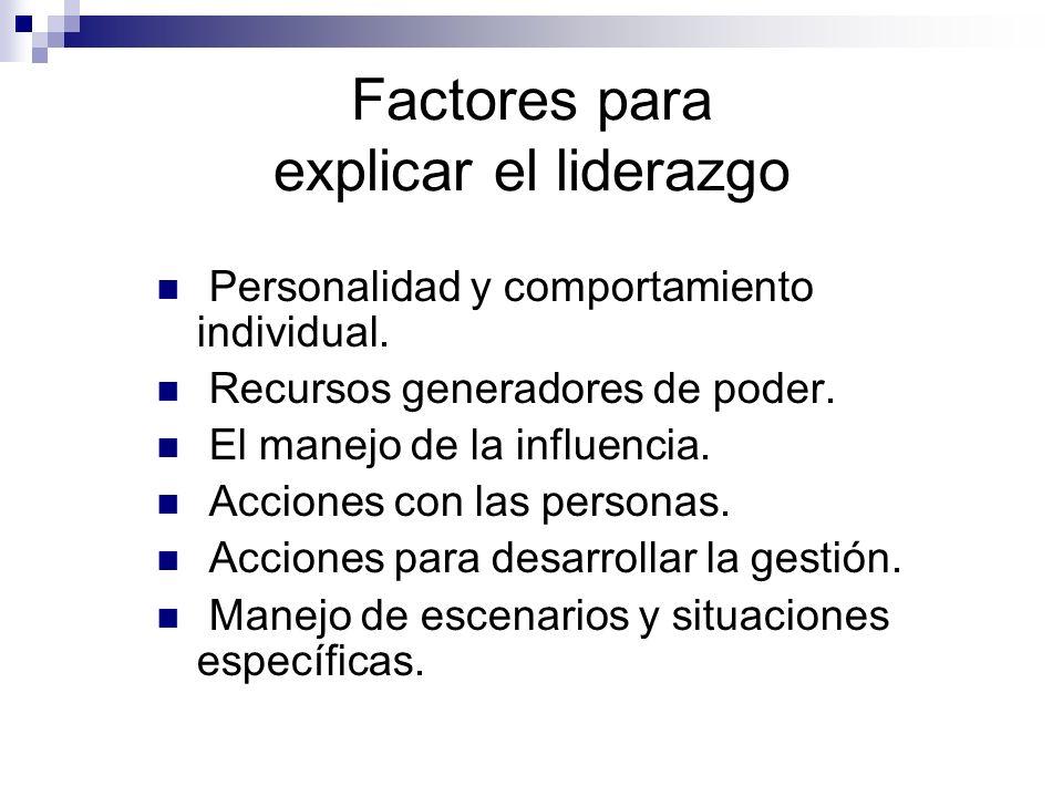 Factores para explicar el liderazgo Personalidad y comportamiento individual. Recursos generadores de poder. El manejo de la influencia. Acciones con