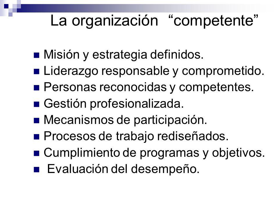 La organización competente Misión y estrategia definidos. Liderazgo responsable y comprometido. Personas reconocidas y competentes. Gestión profesiona