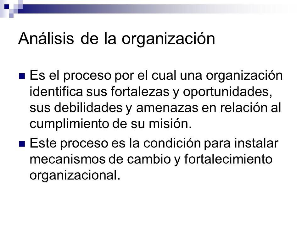 Análisis de la organización Es el proceso por el cual una organización identifica sus fortalezas y oportunidades, sus debilidades y amenazas en relaci