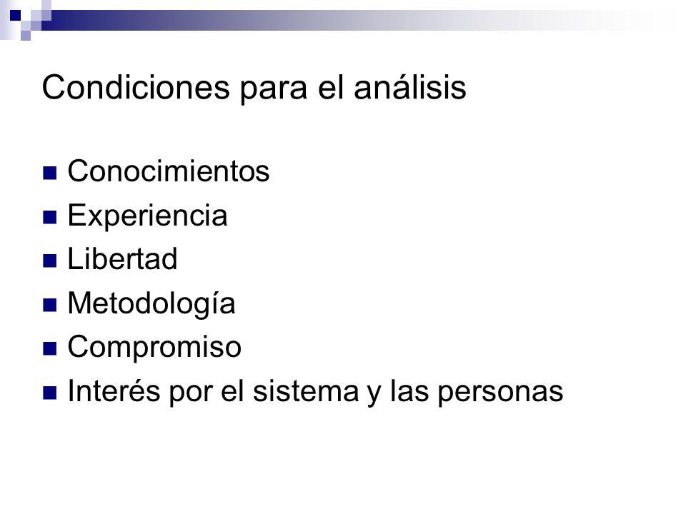 Condiciones para el análisis Conocimientos Experiencia Libertad Metodología Compromiso Interés por el sistema y las personas
