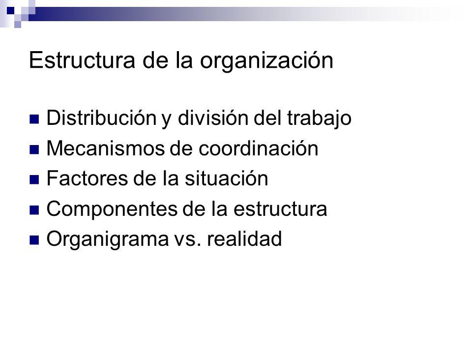 Estructura de la organización Distribución y división del trabajo Mecanismos de coordinación Factores de la situación Componentes de la estructura Org