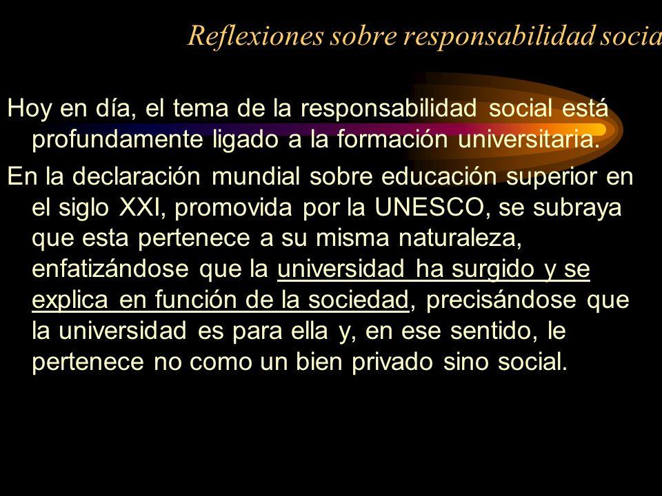 Reflexiones sobre responsabilidad social Hoy en día, el tema de la responsabilidad social está profundamente ligado a la formación universitaria. En l