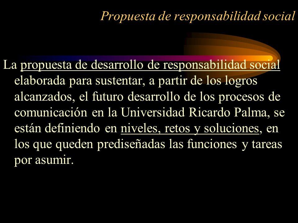 Propuesta de responsabilidad social La propuesta de desarrollo de responsabilidad social elaborada para sustentar, a partir de los logros alcanzados,