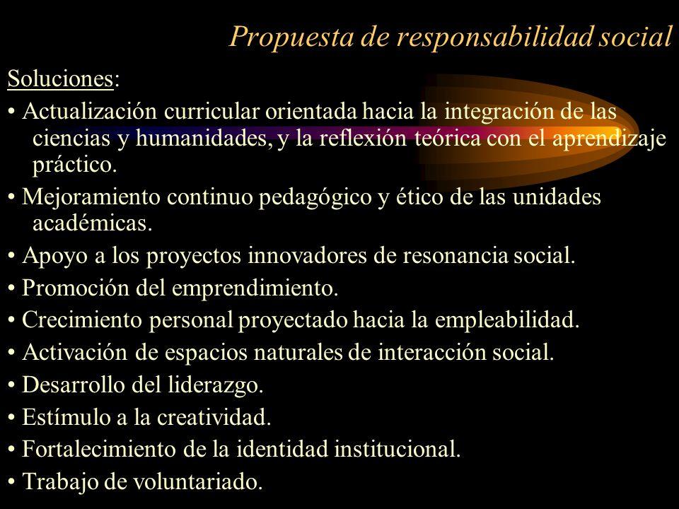 Propuesta de responsabilidad social Soluciones: Actualización curricular orientada hacia la integración de las ciencias y humanidades, y la reflexión
