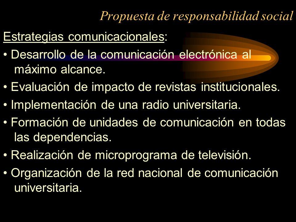 Propuesta de responsabilidad social Estrategias comunicacionales: Desarrollo de la comunicación electrónica al máximo alcance. Evaluación de impacto d