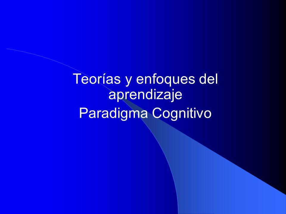 Teorías y enfoques del aprendizaje Paradigma Cognitivo