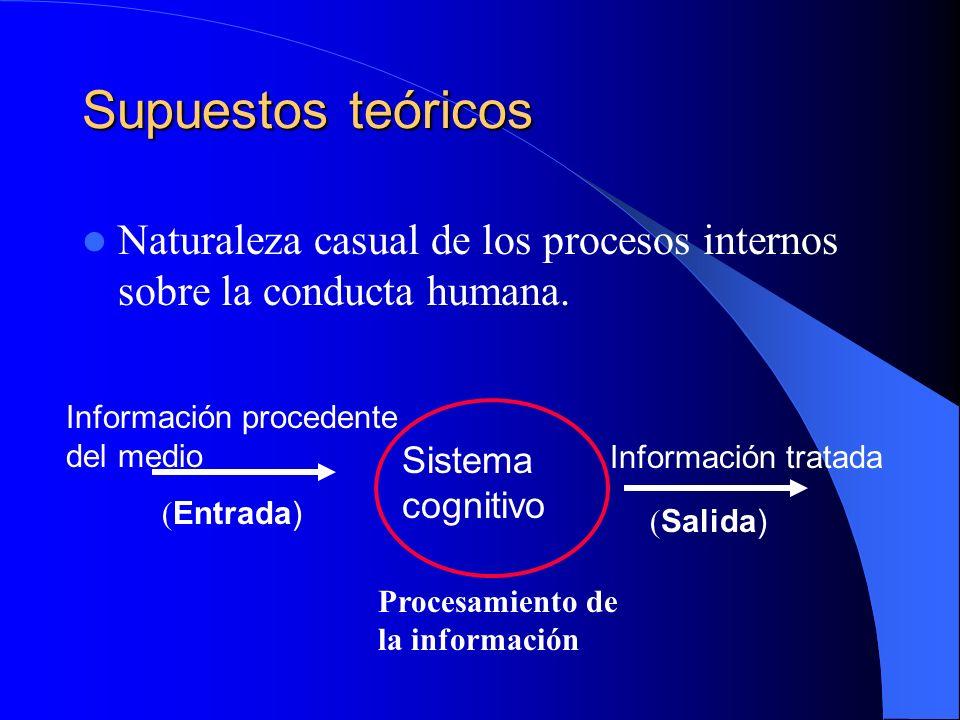 Supuestos teóricos Naturaleza casual de los procesos internos sobre la conducta humana. Sistema cognitivo Información procedente del medio ( Entrada)